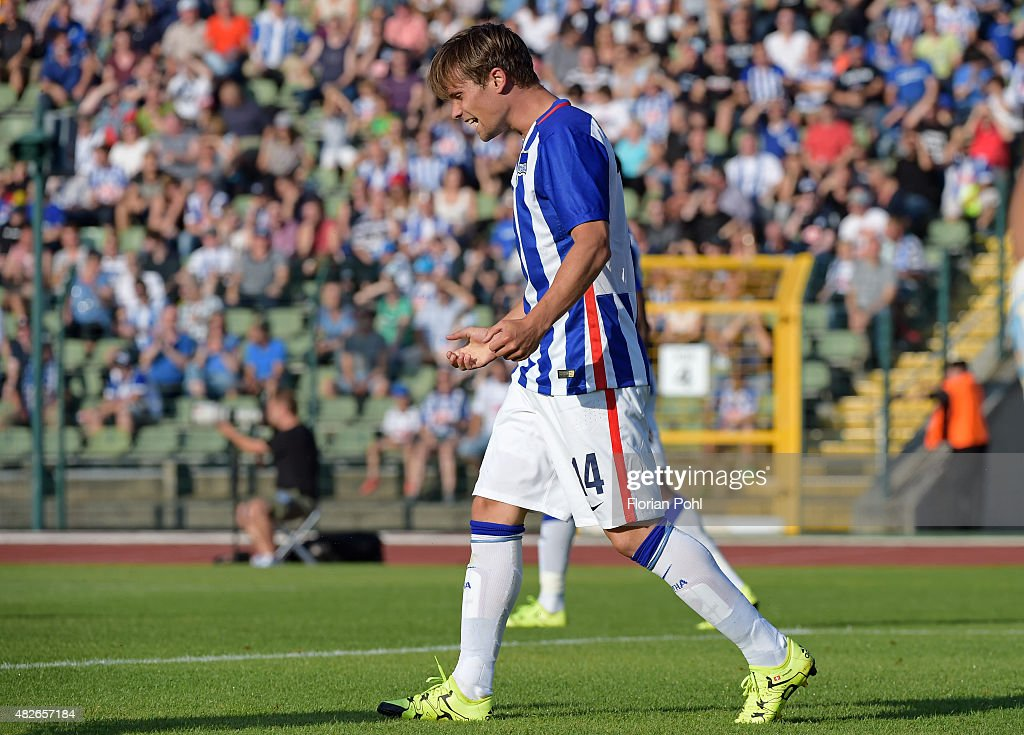 <a gi-track='captionPersonalityLinkClicked' href=/galleries/search?phrase=Valentin+Stocker&family=editorial&specificpeople=5522265 ng-click='$event.stopPropagation()'>Valentin Stocker</a> of Hertha BSC shows disappointment during the game between Hertha BSC and CFC Genua on august 1, 2015 in Berlin, Germany.