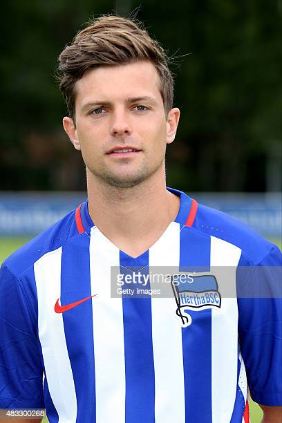 Valentin Stocker poses during the Hertha BSC team presentation on July 10 2015 in Berlin Germany