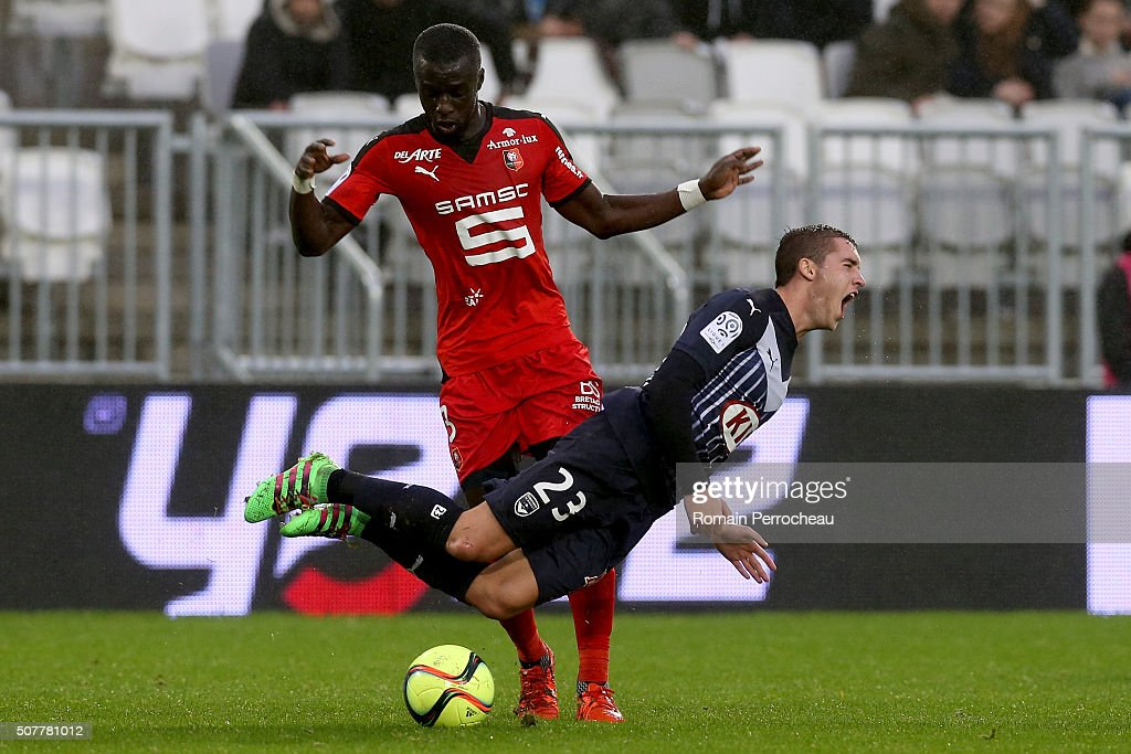 Valentin Vada for Bordeaux battle for the ball with Cheik Mbengue for Rennes during French Ligue 1 match between FC Girondins de Bordeaux and Stade Rennais at Stade Matmut Atlantique on January 31, 2016 in Bordeaux, France.