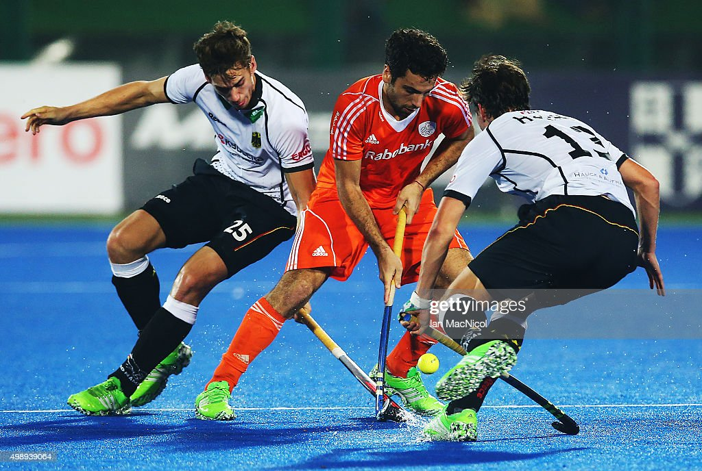 Valentin Verga of Netherlands controls the ball during the match between Netherlands and Germany on day one of The Hero Hockey League World Final at the Sardar Vallabh Bhai Patel International Hockey Stadium on November 27, 2015 in Raipur, India.