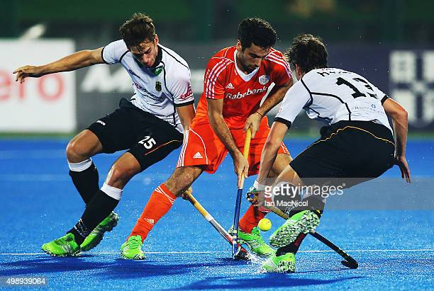 Valentin Verga of Netherlands controls the ball during the match between Netherlands and Germany on day one of The Hero Hockey League World Final at...