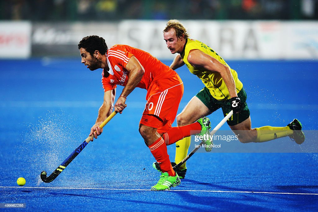Valentin Verga of Netherlands controls the ball during the match between Australia and Netherlands on day eight of The Hero Hockey League World Final at the Sardar Vallabh Bhai Patel International Hockey Stadium on December 04, 2015 in Raipur, India.