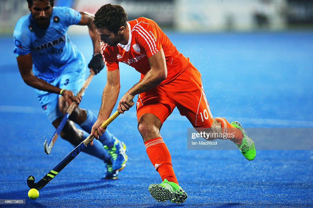 Valentin Verga of Netherlands runs with the ball during the match between Netherlands and India on day four of The Hero Hockey League World Final at the Sardar Vallabh Bhai Patel International Hockey Stadium on November 30, 2015 in Raipur, India.