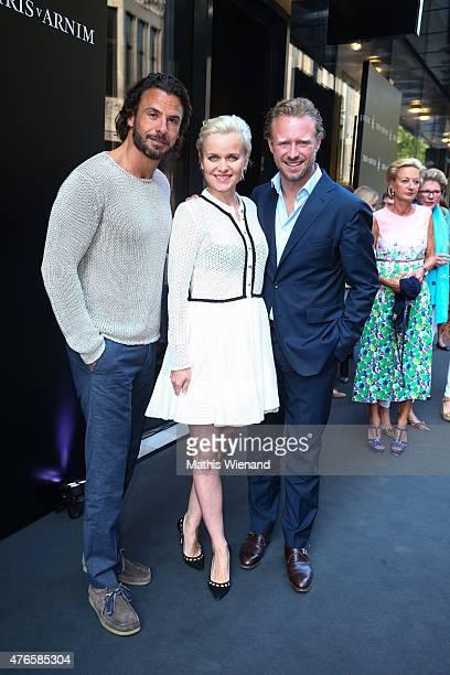 Valentin von Arnim Barbara Sturm and Stephen Luca attend the Iris von Arnim store opening on June 10 2015 in Duesseldorf Germany