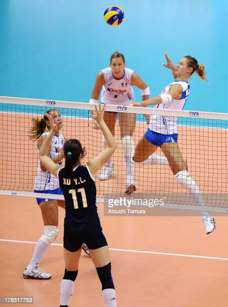 Valentina Arrighetti of Italy spikes the ball during day two of the FIVB World Grand Prix Sapporo 2013 match between Italy and China at Hokkaido...