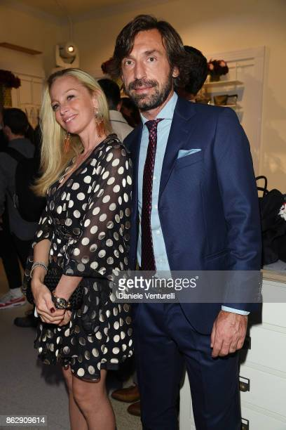 Valentina Baldini and Andrea Pirlo attend the Intimissimi Grand Opening on October 18 2017 in New York United States