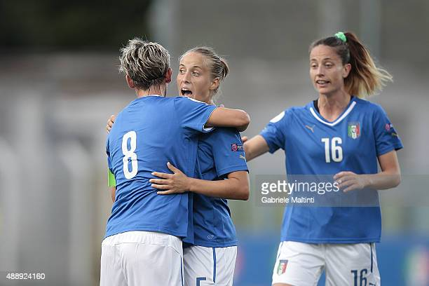 Valentina Cernoia of Italy celebrates after scoring a goal during the UEFA Women's EURO 2017 Qualifyier between Italy and Georgia at Stadio Alberto...