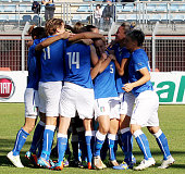 Valentina Cernoia with her teammates of Italy celebrates after scoring the opening goal during the FIFA Women's World Cup Qualifier match between...