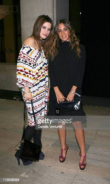 Valentina Cervi and Delfina Fendi during Loris Cecchini Exhibition Fendi Party at Palais de Tokyo in Paris France