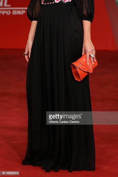 Valentina Corti bag detail walks a red carpet for 'Moonlight' at Auditorium Parco Della Musica on October 13 2016 in Rome Italy