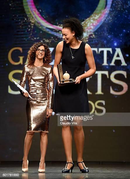 Valentina Diouf and Teresa Mannino attend La Gazzetta dello Sport Gala' Event at the Metropol on December 17 2015 in Milan Italy