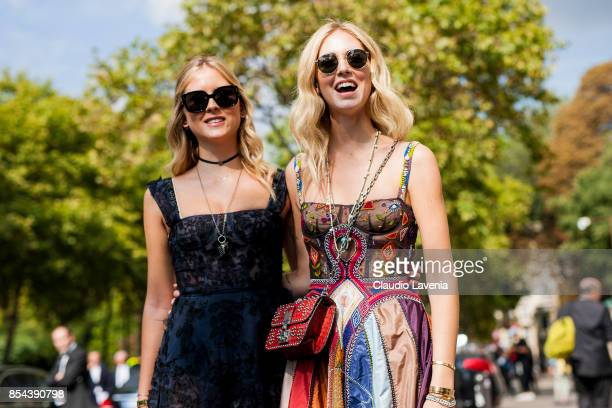 Valentina Ferragni and Chiara Ferragni are seen wearing Dior before the Dior show at the Musee Rodin during Paris Fashion Week Womenswear SS18 on...
