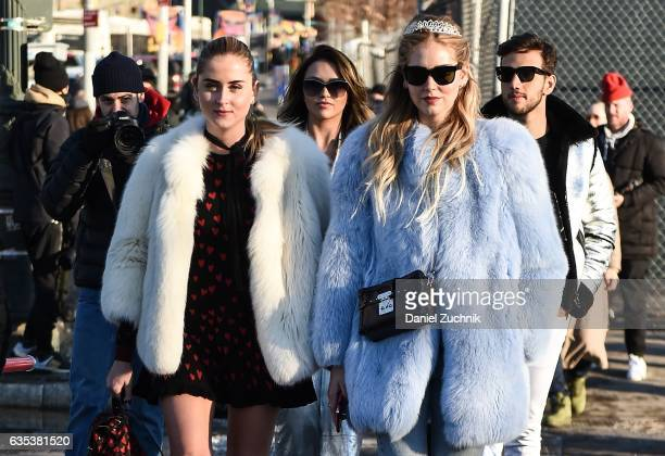 Valentina Ferragni and Chiara Ferragni are seen wearing fur coats outside the Coach show during New York Fashion Week Women's Fall/Winter 2017 on...