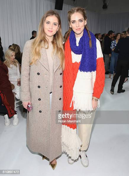 Valentina Ferragni and Chiara Ferragni attend Delpozo during Fall 2016 New York Fashion Week at Pier 59 Studios on February 17 2016 in New York City