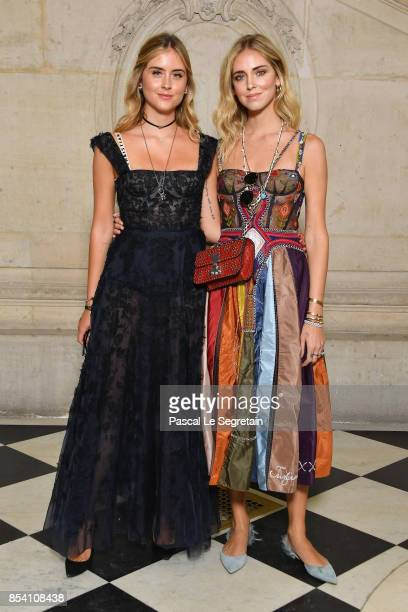 Valentina Ferragni and Chiara Ferragni attend the Christian Dior show as part of the Paris Fashion Week Womenswear Spring/Summer 2018 on September 26...