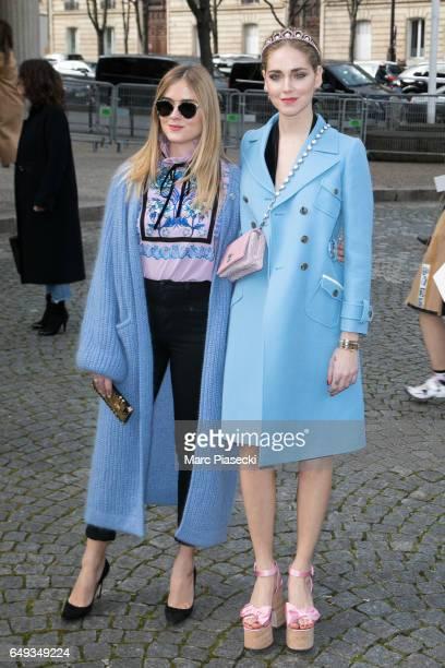 Valentina Ferragni and Chiara Ferragni attend the Miu Miu show as part of the Paris Fashion Week Womenswear Fall/Winter 2017/2018 on March 7 2017 in...