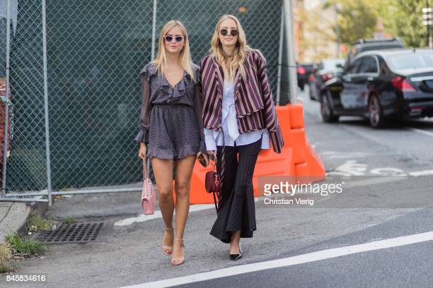 Valentina Ferragni and Leonie Hanne wearing stripped jacket flared pants Chloe bag Dior sling backs seen in the streets of Manhattan outside...