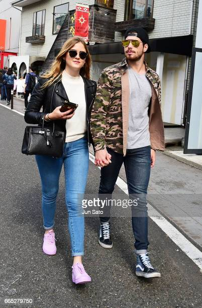 Valentina Ferragni and Luca Vezil sighting at Omotesando street on April 6 2017 in Tokyo Japan