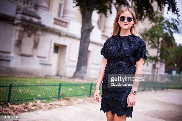 Valentina Ferragni in Rochas dress attends the Mugler show on day 5 of Paris Womens Fashion Week Spring/Summer 2017Êon September 30 2016 in Paris...