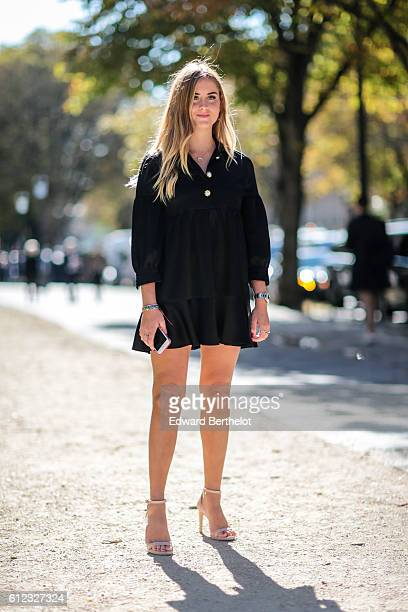 Valentina Ferragni is seen outside of the Giambattista Valli show during Paris Fashion Week Spring Summer 2017 at Grand Palais on October 3 2016 in...