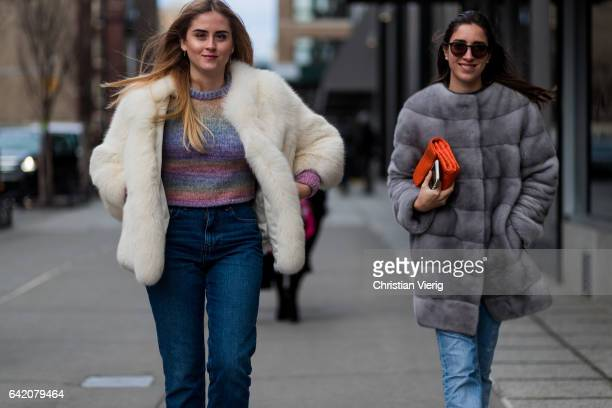 Valentina Ferragni wearing a fur jacket outside Anna Sui on February 15 2017 in New York City