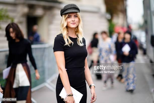 Valentina Ferragni wears a black beret hat a black dress outside Lanvin during Paris Fashion Week Womenswear Spring/Summer 2018 on September 27 2017...