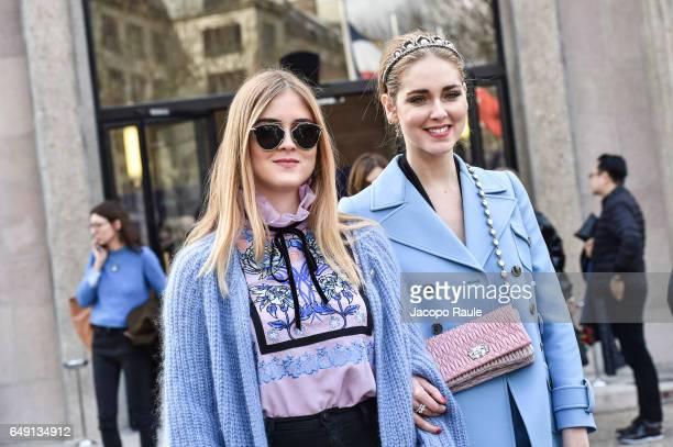 Valentina Ferrgani and Chiara Ferragni are seen arriving at Miu Miu fashion show during the Paris Fashion Week Womenswear Fall/Winter 2017/2018 on...