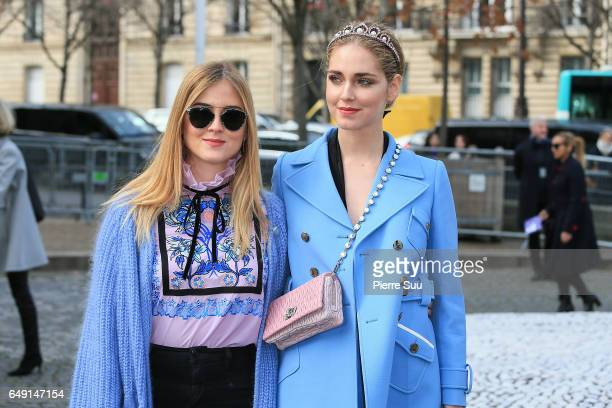 Valentina Ferrgani and Chiara Ferragni arrive at the Miu Miu show as part of the Paris Fashion Week Womenswear Fall/Winter 2017/2018 on March 7 2017...