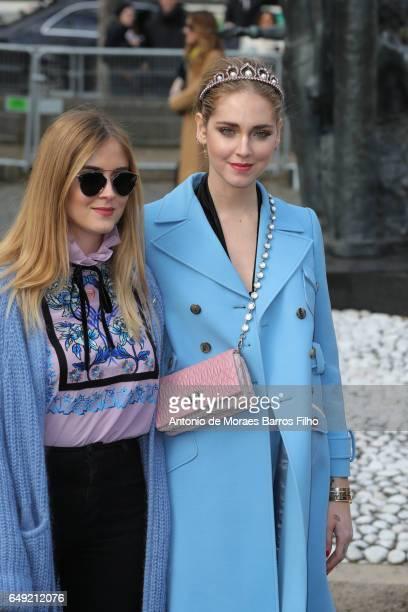 Valentina Ferrgani and Chiara Ferragni attend the Miu Miu show as part of the Paris Fashion Week Womenswear Fall/Winter 2017/2018 on March 7 2017 in...