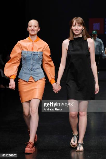Valentina Iannace acknowledges the audience on the runway at end of the AMD Exit17_2 show during Platform Fashion July 2017 at Areal Boehler on July...