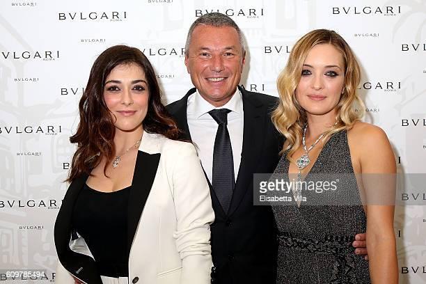 Valentina Lodovini Bvlgari CEO JeanChristophe Babin and Carolina Crescentini attend the Bvlgari Tribute To Spanish Steps Opening Event on September...
