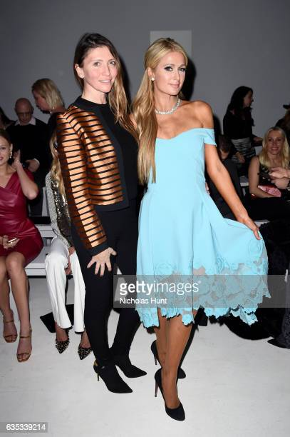 Valentina Micchetti and Paris Hilton attend the Chiara Boni La Petite Robe collection during New York Fashion Week The Shows at Gallery 3 Skylight...