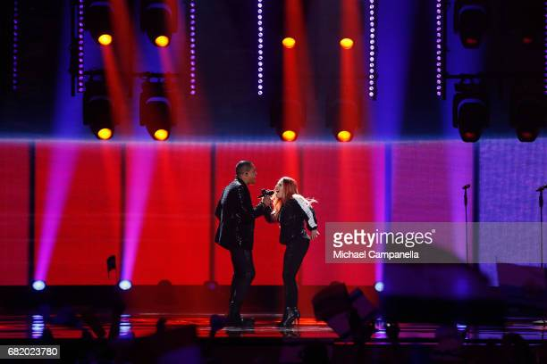 Valentina Monetta and Jimmie Wilson representing San Marino perform the song 'Spirit of the Night' during the second semi final of the 62nd...