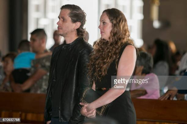 Valentina Moreno and Mario Moreno attend a mass to conmemorate the 24th Anniversary of the death of the Mexican actor Mario Moreno Cantinflas at...