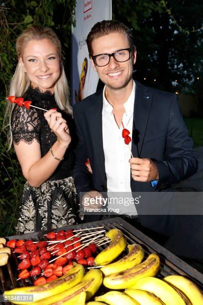Valentina Pahde and Joern Schloenvoigt attend the Kaufland Hosts VIP BBQ at OberhafenKantine on July 12 2017 in Berlin Germany