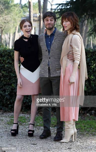 Valentina Romani Lino Guanciale and Gabriella Pession attend a photocall for 'La Porta Rossa' fiction Rai at Villa Borghese on February 15 2017 in...