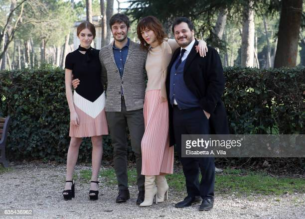 Valentina Romani Lino Guanciale Gabriella Pession and Antonio Gerardi attend a photocall for 'La Porta Rossa' fiction Rai at Villa Borghese on...