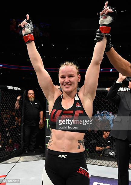Valentina Shevchenko of Kyrgyzstan celebrates her submission victory over Julianna Pena in their women's bantamweight bout during the UFC Fight Night...