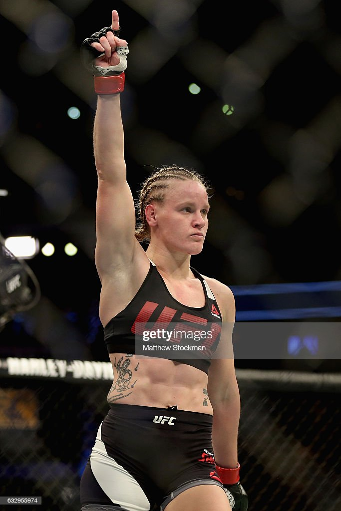 Valentina Shevchenko of Kyrgyzstan celebrates her win over Julianna Pena in the women's Bantamweight division during the UFC Fight Night at the Pepsi Center on January 28, 2017 in Denver, Colorado.