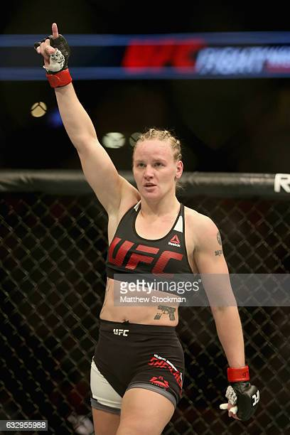 Valentina Shevchenko of Kyrgyzstan celebrates her win over Julianna Pena in the women's Bantamweight division during the UFC Fight Night at the Pepsi...