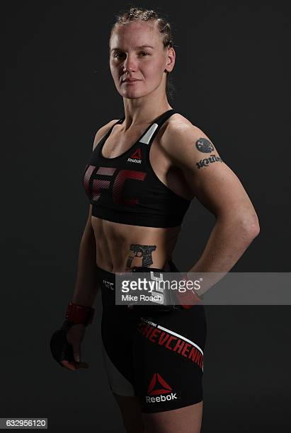 Valentina Shevchenko of Kyrgyzstan poses for a portrait backstage during the UFC Fight Night event at the Pepsi Center on January 28 2017 in Denver...