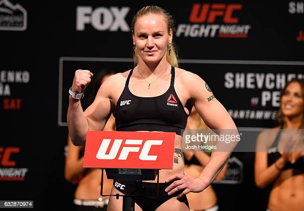 Valentina Shevchenko of Kyrgyzstan poses on the scale during the UFC Fight Night weighin at the Pepsi Center on January 27 2017 in Denver Colorado