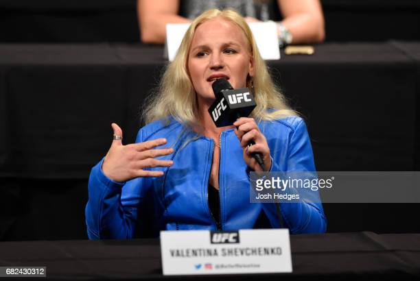 Valentina Shevchenko of Kyrgyzstan speaks to the media during the UFC Summer Kickoff Press Conference at the American Airlines Center on May 12 2017...