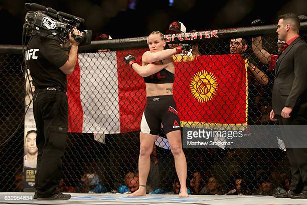 Valentina Shevchenko of Kyrgyzstan waits to be introduced before her fight against Julianna Pena in the women's Bantamweight division during the UFC...