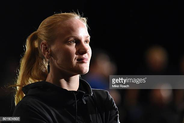 Valentina Shevchenko of Russia waits backstage during the UFC weighin inside the Orange County Convention Center on December 18 2015 in Orlando...