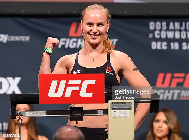 Valentina Shevchenko of Russia weighs in during the UFC weighin at the Orange County Convention Center on December 18 2015 in Orlando Florida