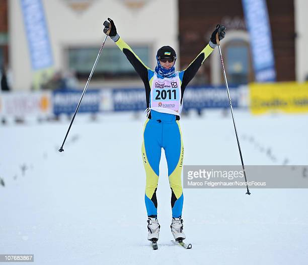 Valentina Shevchenko of Ukraine celebrates during the FIS Cross Country Marathon Cup 'La Sgambeda' on December 19 2010 in Livigno Italy