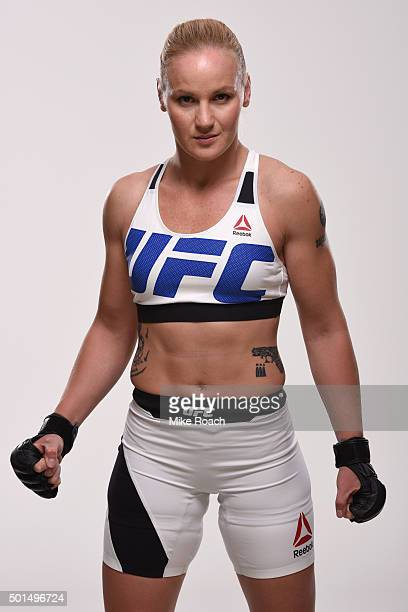 Valentina Shevchenko poses for a portrait during a UFC photo session at the Hyatt Regency Orlando on December 15 2015 in Orlando Florida