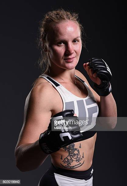 Valentina Shevchenko poses for a post fight portrait backstage during the UFC Fight Night event at the Amway Center on December 19 2015 in Orlando...