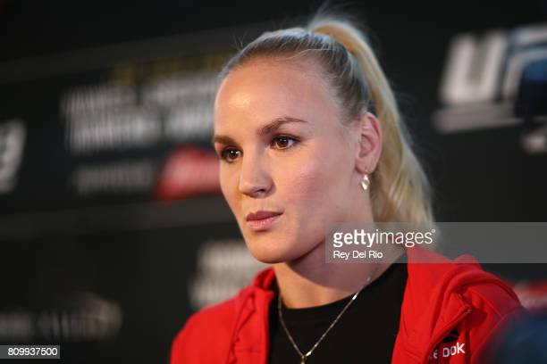 Valentina Shevchenko speaks to the media during the UFC 213 Ultimate Media Day event at TMobile Arena on July 6 2017 in Las Vegas Nevada